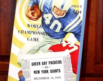 1961 Vintage Green Bay Packers - New York Giants World Championship Football Program - Canvas Gallery Wrap   #FB002
