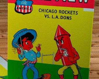 1948 Vintage Los Angeles Dons - Chicago Rockets Football Program Cover - Canvas Gallery Wrap
