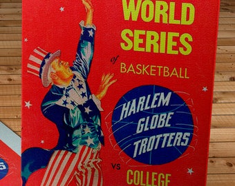 1961 Vintage World Series of Basketball - Harlem Globetrotters Basketball Program - Canvas Gallery Wrap