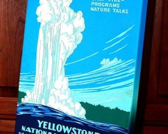 Vintage WPA Poster - Yellowstone National Park - Old Faithful  - Canvas Gallery Wrap   #WP011