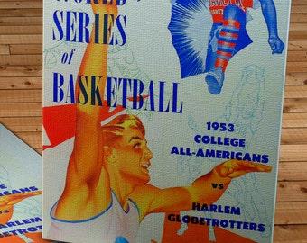 1953 Vintage Basketball World Series Program - Harlem Globetrotters - Canvas Gallery Wrap   #BK001