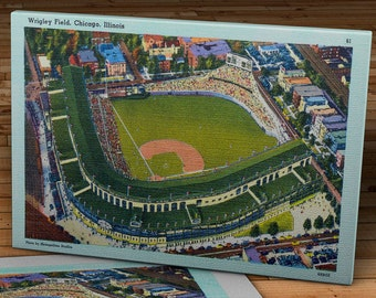 1941 Vintage Chicago Cubs Wrigley Field Post Card - Canvas Gallery Wrap - 16 x 10  #BB158