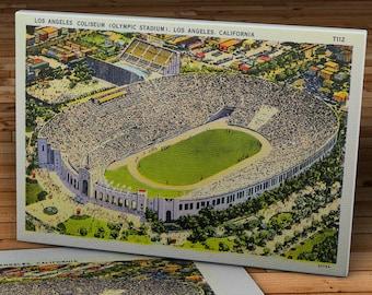 1930's Vintage Los Angeles Coliseum (Olympic Stadium) Postcard - Canvas Gallery Wrap - 16 x 10