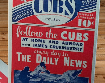 1931 Vintage Chicago Cubs Baseball Program Cover- Canvas Gallery Wrap