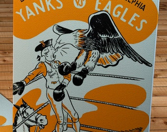 1947 Vintage Boston Yanks - Philadelphia Eagles Football Program Cover - Canvas Gallery Wrap