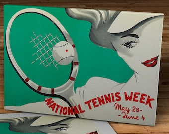 Vintage National Tennis Week Poster - Canvas Gallery Wrap