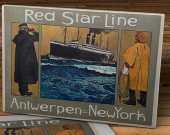 Vintage Red Star Line Travel Poster - Antwerpen - New York - Canvas Gallery Wrap -  14 x 10 #TP004