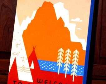 Vintage WPA Poster - See America - Welcome to Montana - Canvas Gallery Wrap - 24 x 30 #WP006L