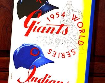 1954 Vintage New York Giants - Cleveland Indians World Series Program - Canvas Gallery Wrap -  12 x 14 #BB057