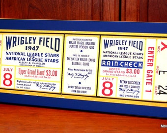 1947 Vintage Chicago Cubs - Wrigley Field All-Star Game Ticket  - Canvas Gallery Wrap - 10 x 24 #BB049