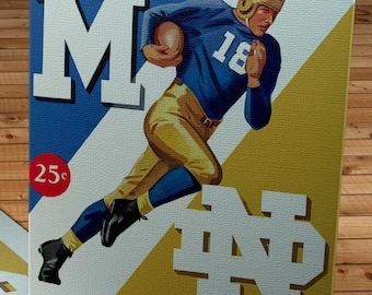 1942 Vintage Michigan Wolverines -  Notre Dame Fighting Irish Football Program Cover - Canvas Gallery Wrap
