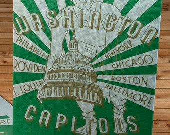 1947 - 1948 Vintage Washington Capitols Basketball Program Cover - Canvas Gallery Wrap -