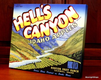 Vintage Produce Label - Hell's Canyon Idaho Apples - Canvas Gallery Wrap -  12 x 14 #PL001