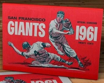 1961 Vintage San Francisco Giants Baseball Scorecard - Canvas Gallery Wrap - 16 x 10 #BB439