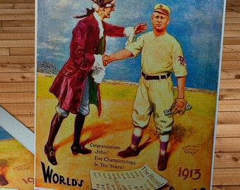 1913 Vintage New York Giants - Philadelphia Athletics World Series Program - Canvas Gallery Wrap   #BB088