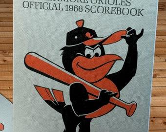 1966 Vintage Baltimore Orioles Scorebook Cover - Hat Tip  - Canvas Gallery Wrap