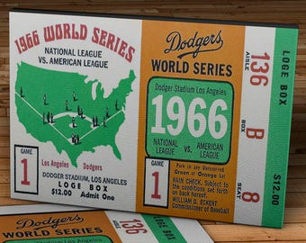 1966 Vintage World Series Baltimore Orioles - Los Angeles Dodgers Ticket - Canvas Gallery Wrap -  20 x 10