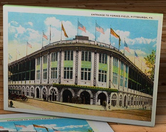 1920's Vintage Pittsburgh Pirates - Forbes Field Entrance Postcard - Canvas Gallery Wrap - 16 x 10