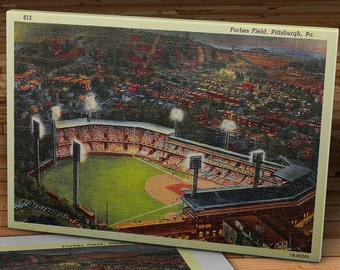 1950 Vintage Pittsburgh Pirates - Forbes Field Postcard - Canvas Gallery Wrap   #BB158