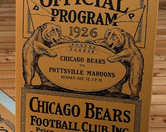 1926 Vintage Chicago Bears-Pottsville Maroons Football Program Cover - Canvas Gallery Wrap
