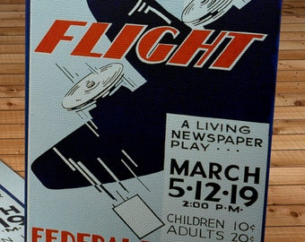 1940's Vintage WPA Poster - Flight - Federal Theatre - Canvas Gallery Wrap -  10 x 16