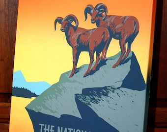 Vintage WPA Poster - The National Parks - Rams  - Canvas Gallery Wrap -  14 x 18 #WP010