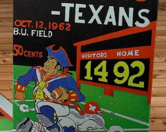 1962 Vintage Boston Patriots - Dallas Texans Football Program Cover- Canvas Gallery Wrap