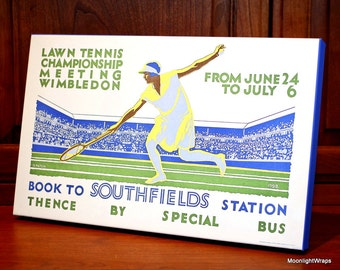 1928 Vintage Wimbledon Tennis Poster - Canvas Gallery Wrap -  10 x 16 #TN001