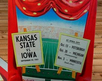 1951 Vintage Kansas State Wildcats  - Iowa Hawkeyes Football Program Cover - Canvas Gallery Wrap