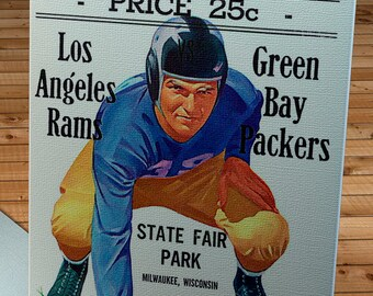 1946 Vintage Los Angeles Rams - Green Bay Packers Football Program Cover - Canvas Gallery Wrap