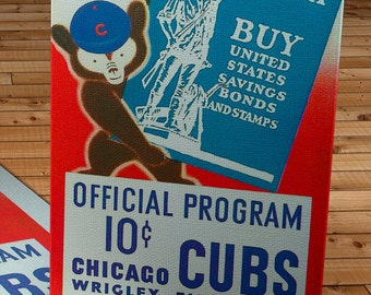 1942 Vintage Chicago Cubs Baseball Program - For Victory - Canvas Gallery Wrap    #BB078