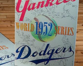 1952 Vintage New York Yankees - Brooklyn Dodgers World Series Program - Canvas Gallery Wrap  #BB071