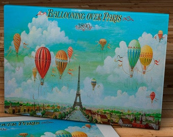 1890 Vintage Ballooning over Paris Travel Poster - Canvas Gallery Wrap -  20 x 11 #TP003