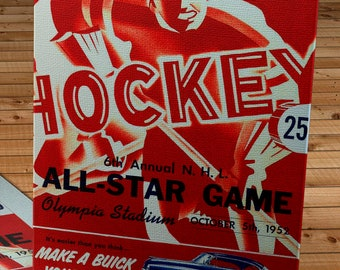 1952 Vintage All-Star Hockey Program - Canvas Gallery Wrap