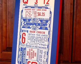 1946 Vintage St. Louis Cardinals World Series Ticket  - Canvas Gallery Wrap - 10 x 18 #BB017