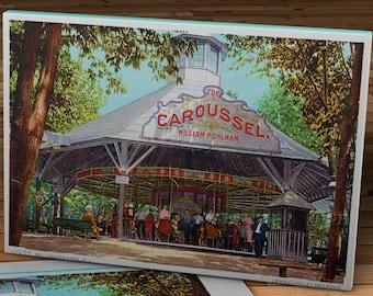 1908 Vintage Carousal Postcard - Bellewood Park, New Jersey - Canvas Gallery Wrap - 16 x 10