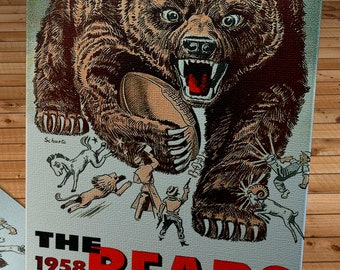1958 Vintage Chicago Bears Football Yearbook Cover - Canvas Gallery Wrap