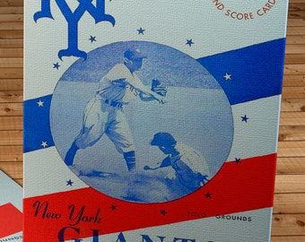 1945 Vintage New York Giants Baseball Scorecard - Canvas Gallery Wrap