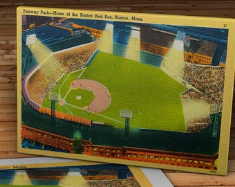 1955 Vintage Boston Red Sox - Fenway Park Postcard - Canvas Gallery Wrap - 16 x 10 #BB148