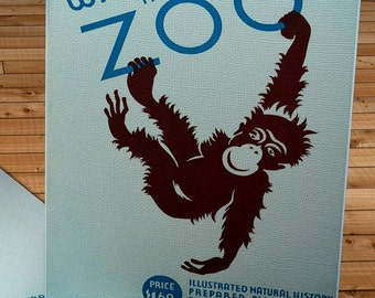 Vintage WPA Poster - Who is in the Zoo - Monkey  - Canvas Gallery Wrap -  10 x 16 #WP008