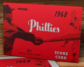 1968 Vintage Philadelphia Phillies Score Card - Canvas Gallery Wrap -  18 x 10