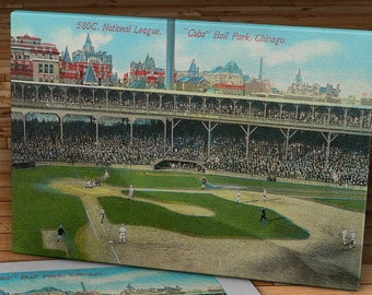 1912 Vintage Chicago Cubs West Side Ball Park Postcard - Canvas Gallery Wrap - 18 x 11 #BB160