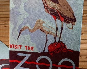 Vintage WPA Poster - Visit the Zoo Pelicans  - Canvas Gallery Wrap   #WP007
