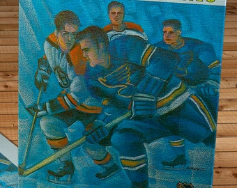 1969-1970 Vintage St Louis Blues - Boston Bruins Hockey Program Cover - Stanley Cup - Canvas Gallery Wrap