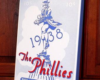 1938 Vintage Philadelphia Phillies Score Card - Canvas Gallery Wrap -  10 x 16 #BB051