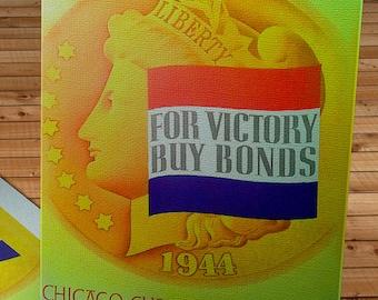 1944 Vintage Chicago Cubs Baseball Program - Liberty Head - Canvas Gallery Wrap    #BB115