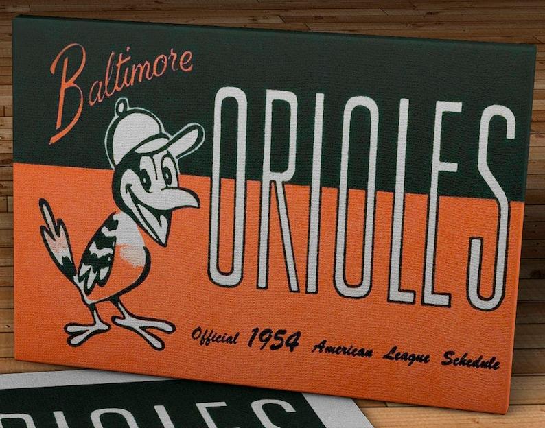 18 x 10 1954 Vintage Baltimore Orioles Schedule Canvas Gallery Wrap