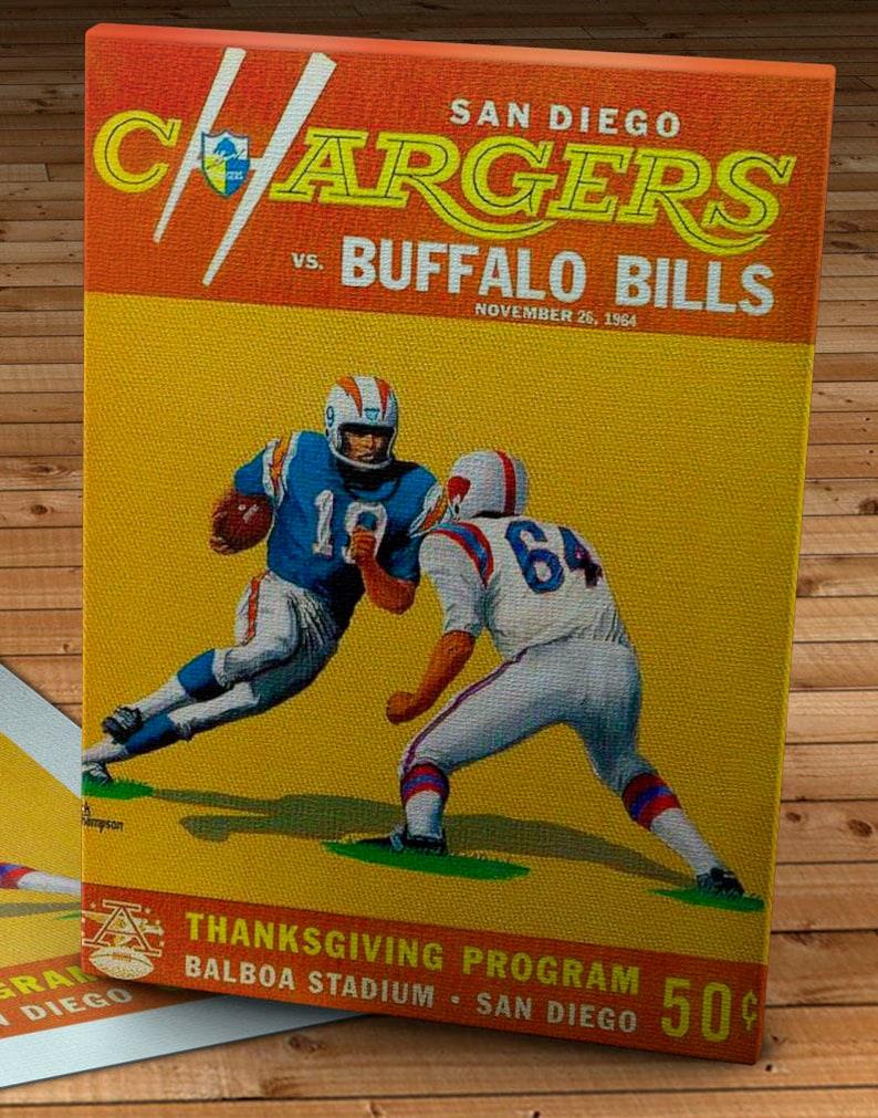 327f963f 1964 Vintage San Diego Chargers - Buffalo Bills Football Program - Canvas  Gallery Wrap - 12 x 16
