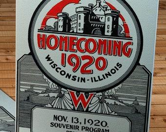 1920 Vintage Wisconsin Badgers - Illinois Fighting Illini Football Program Cover - Canvas Gallery Wrap