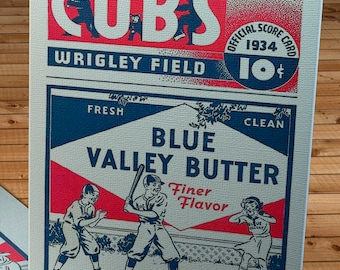 1934 Vintage Chicago Cubs Baseball Program - Blue Valley Butter - Canvas Gallery Wrap